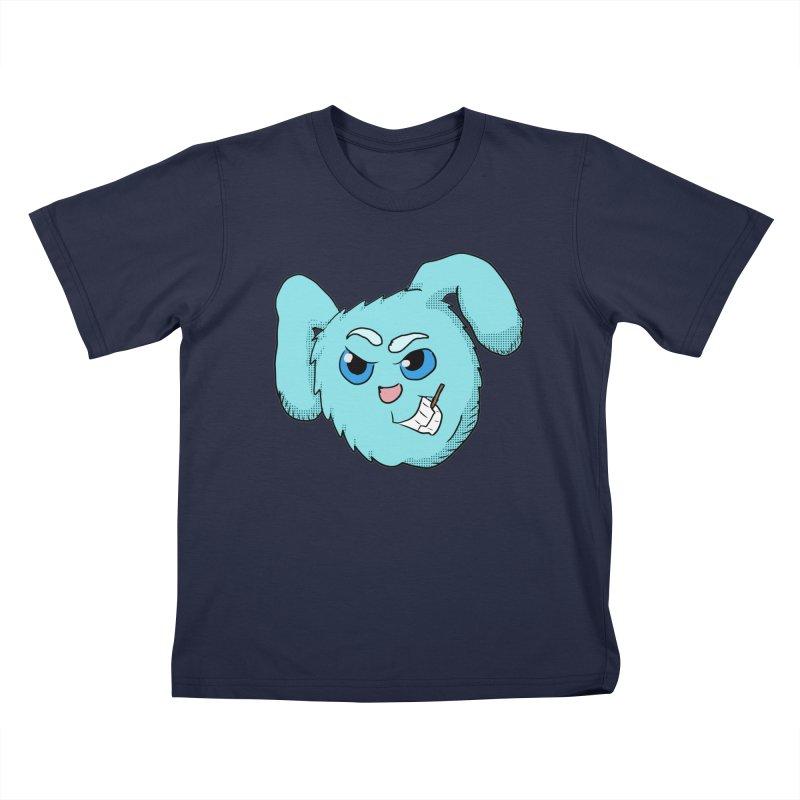 Cute Evil Bunny Head in Kids T-shirt Navy by ericallen's Artist Shop