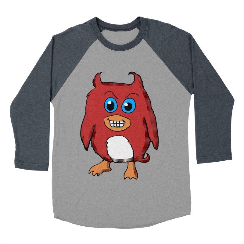 Cute Evil Red Penguin Women's Baseball Triblend T-Shirt by ericallen's Artist Shop