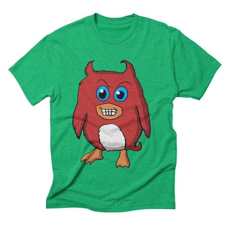 Cute Evil Red Penguin Men's Triblend T-shirt by ericallen's Artist Shop