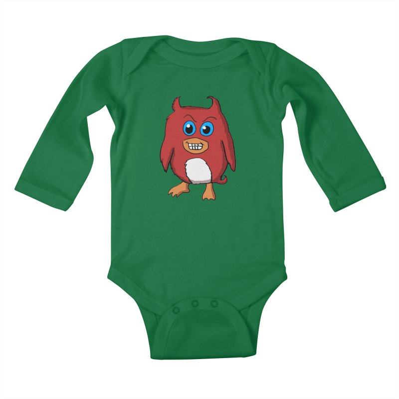 Cute Evil Red Penguin Kids Baby Longsleeve Bodysuit by ericallen's Artist Shop