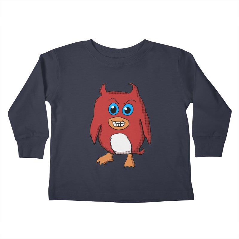 Cute Evil Red Penguin Kids Toddler Longsleeve T-Shirt by ericallen's Artist Shop