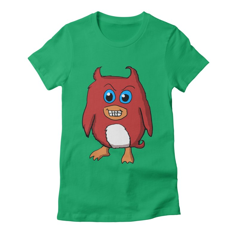 Cute Evil Red Penguin in Women's Fitted T-Shirt Kelly by ericallen's Artist Shop
