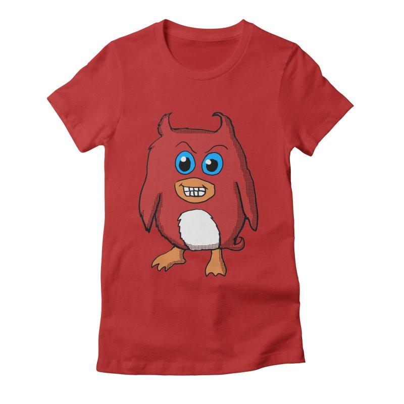 Cute Evil Red Penguin Women's Fitted T-Shirt by ericallen's Artist Shop