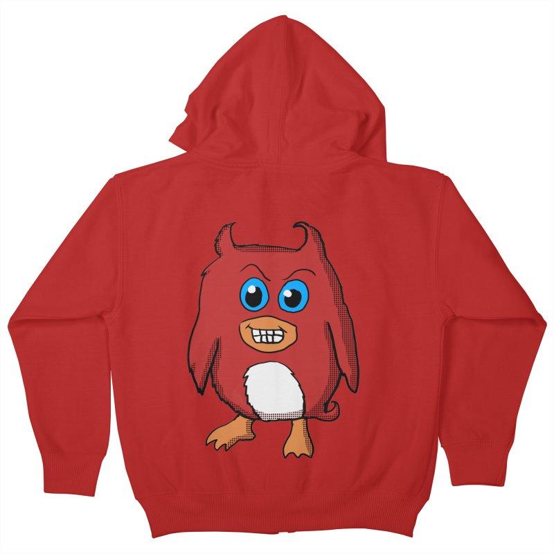 Cute Evil Red Penguin Kids Zip-Up Hoody by ericallen's Artist Shop