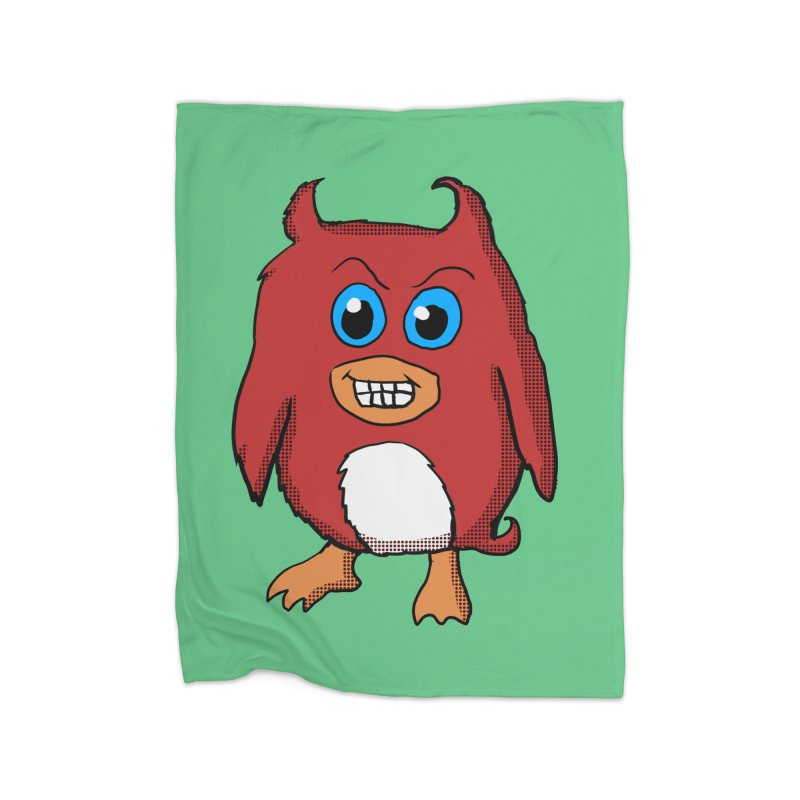 Cute Evil Red Penguin Home Blanket by ericallen's Artist Shop