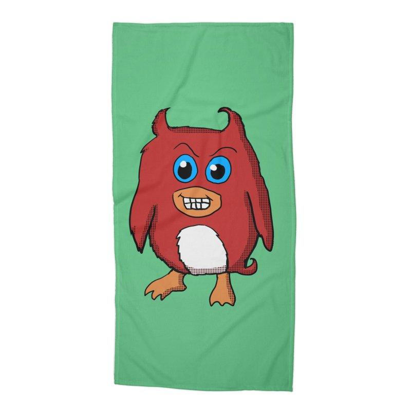 Cute Evil Red Penguin Accessories Beach Towel by ericallen's Artist Shop