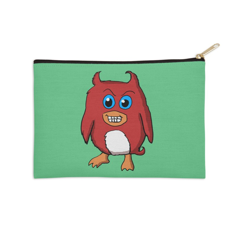 Cute Evil Red Penguin Accessories Zip Pouch by ericallen's Artist Shop