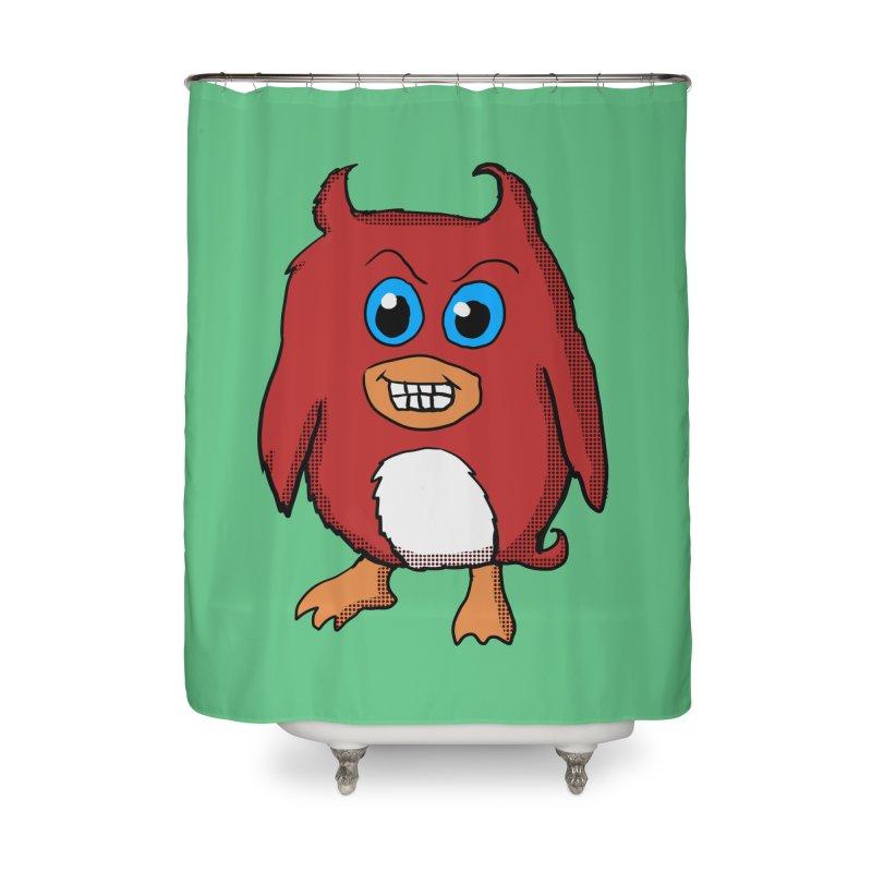 Cute Evil Red Penguin Home Shower Curtain by ericallen's Artist Shop
