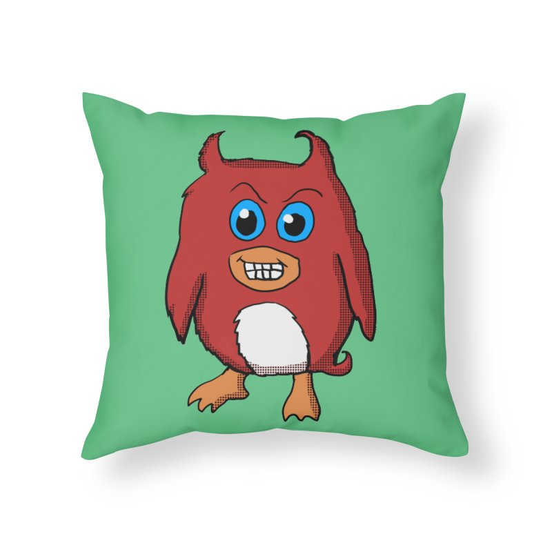 Cute Evil Red Penguin Home Throw Pillow by ericallen's Artist Shop