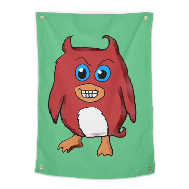 Cute Evil Red Penguin Home Tapestry by ericallen's Artist Shop