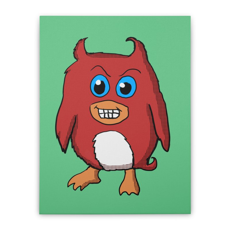 Cute Evil Red Penguin Home Stretched Canvas by ericallen's Artist Shop