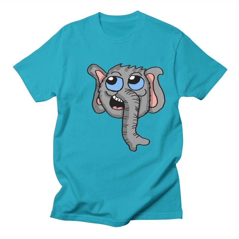 Cute Elephant Head  in Men's T-shirt Cyan by ericallen's Artist Shop