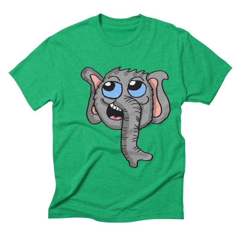 Cute Elephant Head  Men's Triblend T-shirt by ericallen's Artist Shop