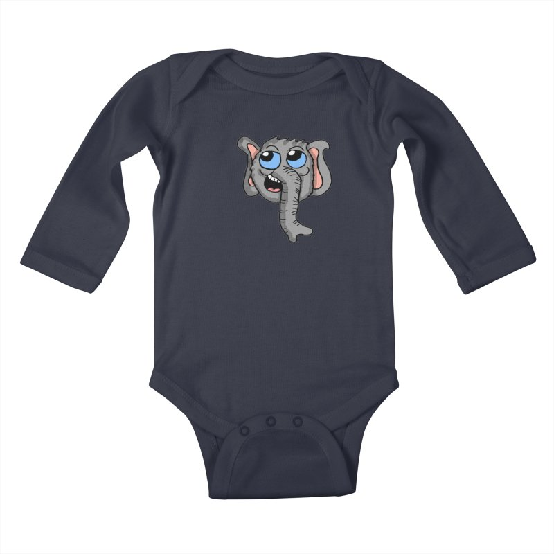Cute Elephant Head  Kids Baby Longsleeve Bodysuit by ericallen's Artist Shop