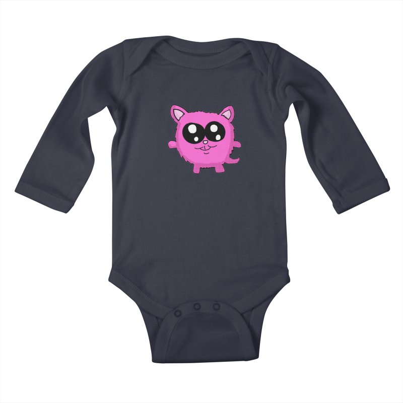 Kawaii Pink Kitty Kids Baby Longsleeve Bodysuit by ericallen's Artist Shop