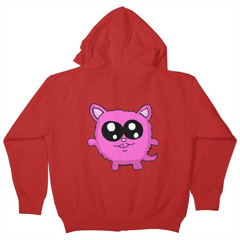 Kawaii Pink Kitty Kids Zip-Up Hoody by ericallen's Artist Shop
