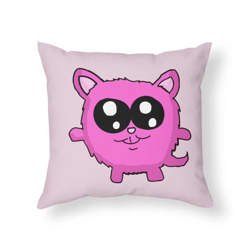 Kawaii Pink Kitty Home Throw Pillow by ericallen's Artist Shop