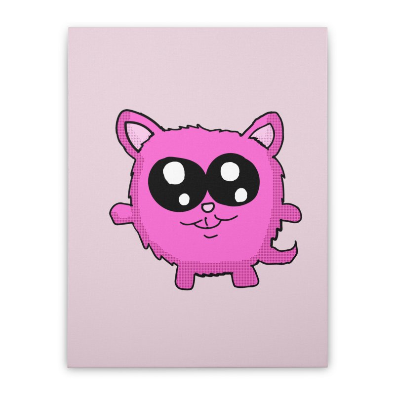 Kawaii Pink Kitty Home Stretched Canvas by ericallen's Artist Shop