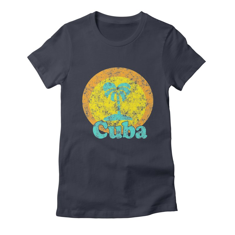 Vintage Cuba Graphic  Women's Fitted T-Shirt by ericallen's Artist Shop