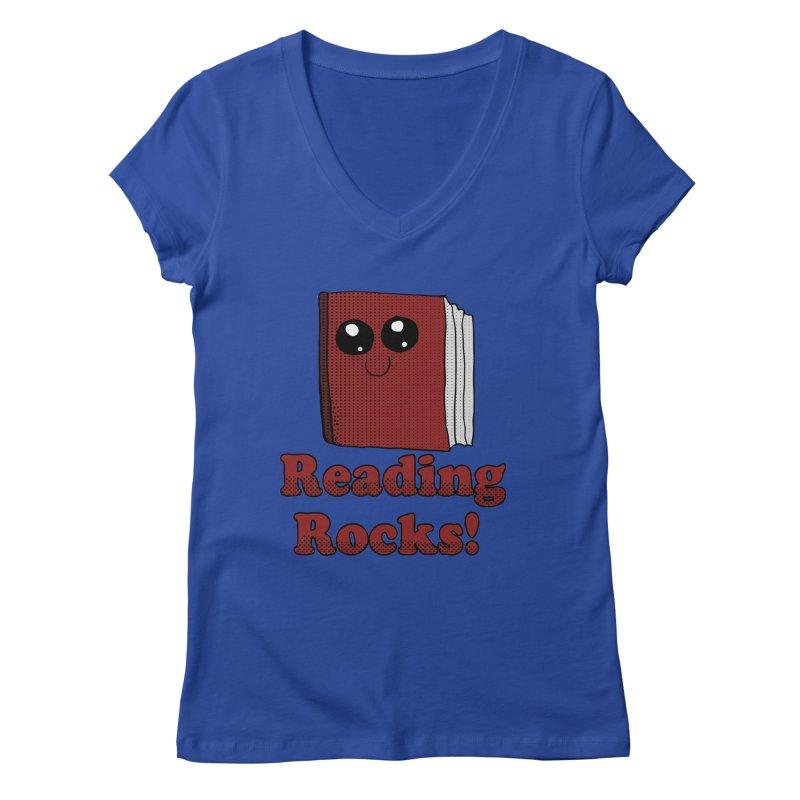 Reading Rocks! Women's V-Neck by ericallen's Artist Shop