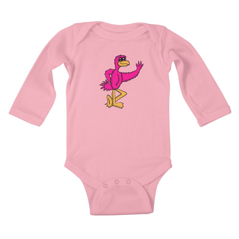 Frankie Flamingo  Kids Baby Longsleeve Bodysuit by ericallen's Artist Shop