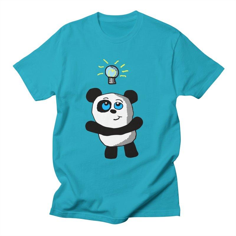 Lightbulb Panda in Men's T-shirt Cyan by ericallen's Artist Shop