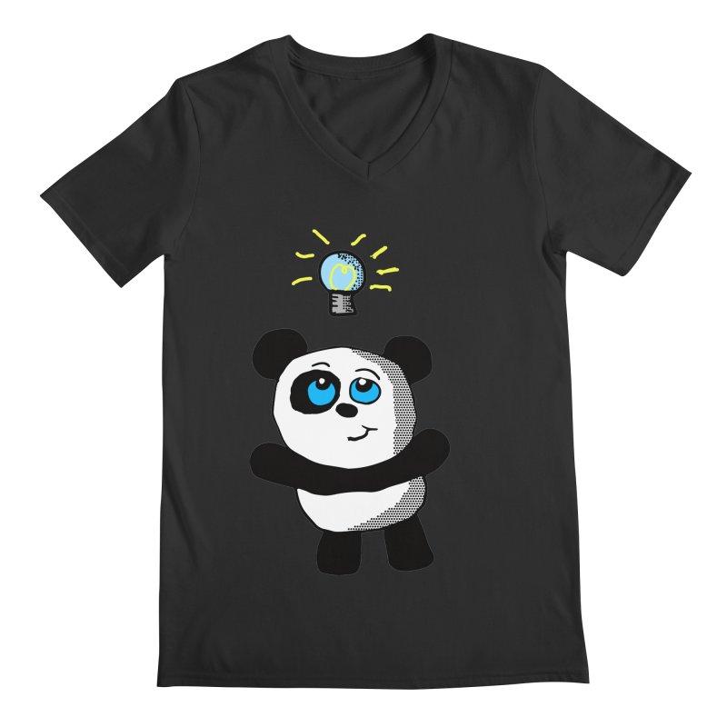 Lightbulb Panda Men's V-Neck by ericallen's Artist Shop