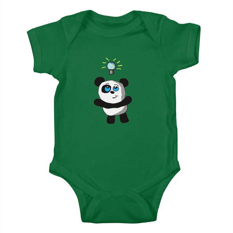 Lightbulb Panda Kids Baby Bodysuit by ericallen's Artist Shop