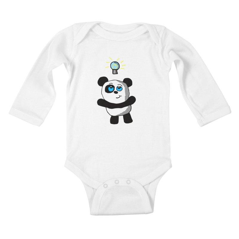Lightbulb Panda Kids Baby Longsleeve Bodysuit by ericallen's Artist Shop