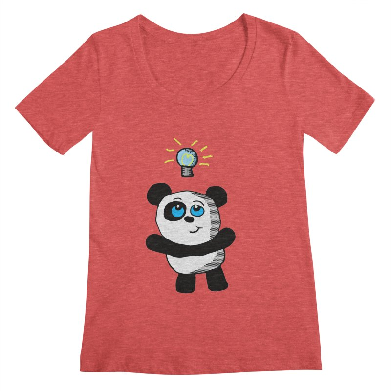 Lightbulb Panda Women's Scoopneck by ericallen's Artist Shop