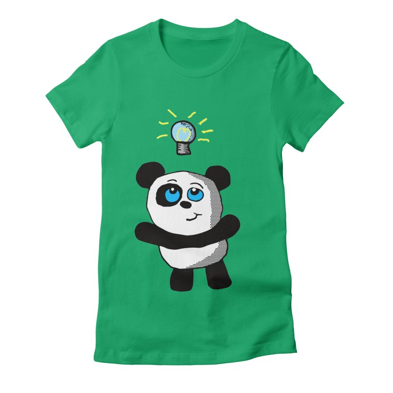Lightbulb Panda Women's Fitted T-Shirt by ericallen's Artist Shop