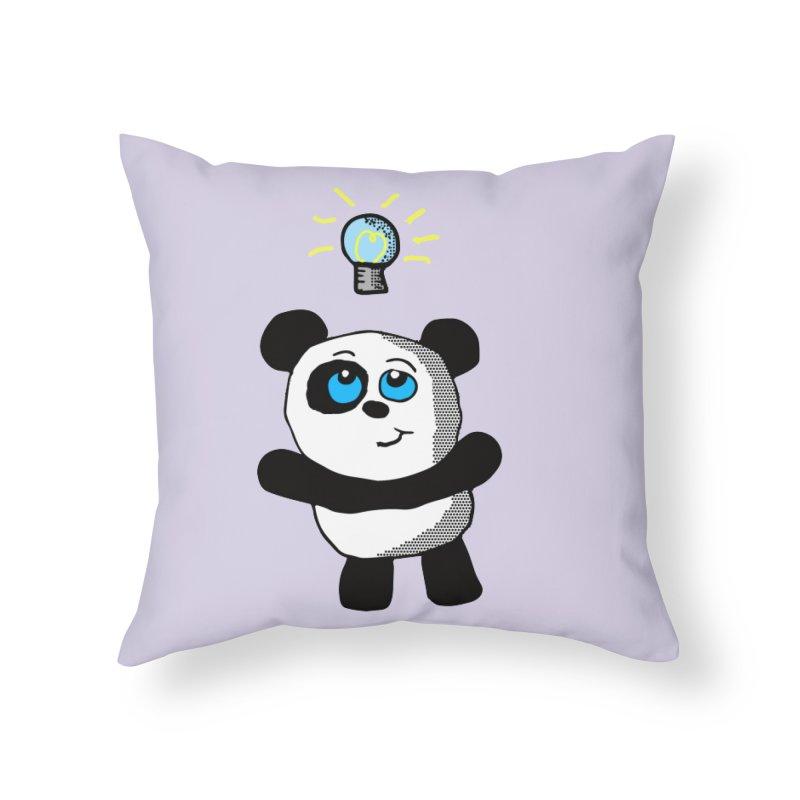 Lightbulb Panda Home Throw Pillow by ericallen's Artist Shop