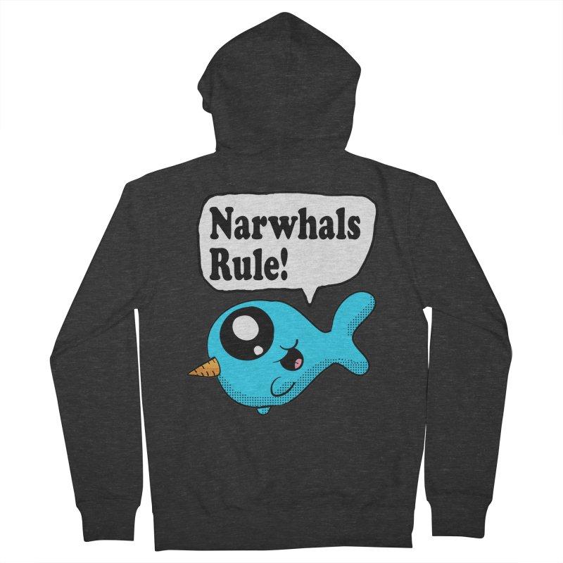 Narwhals Rule Men's Zip-Up Hoody by ericallen's Artist Shop