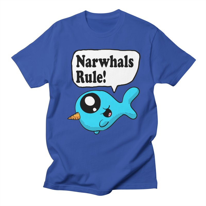 Narwhals Rule in Men's T-shirt Royal Blue by ericallen's Artist Shop