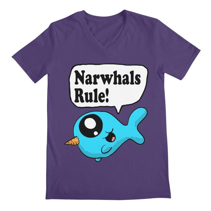 Narwhals Rule Men's V-Neck by ericallen's Artist Shop