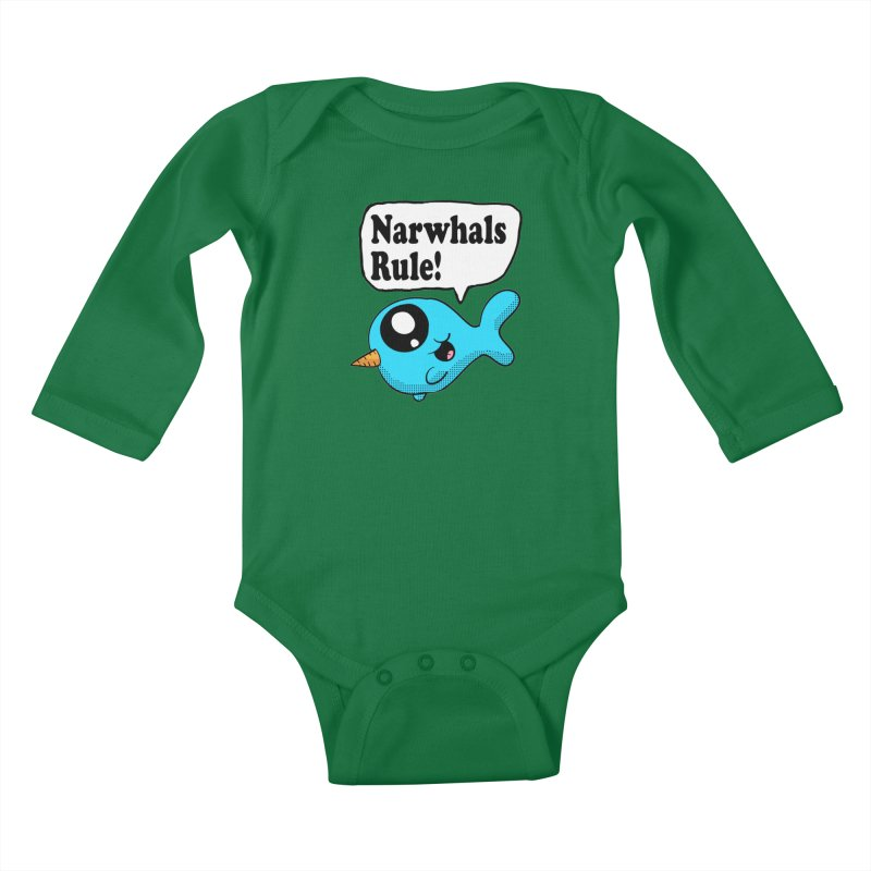 Narwhals Rule Kids Baby Longsleeve Bodysuit by ericallen's Artist Shop