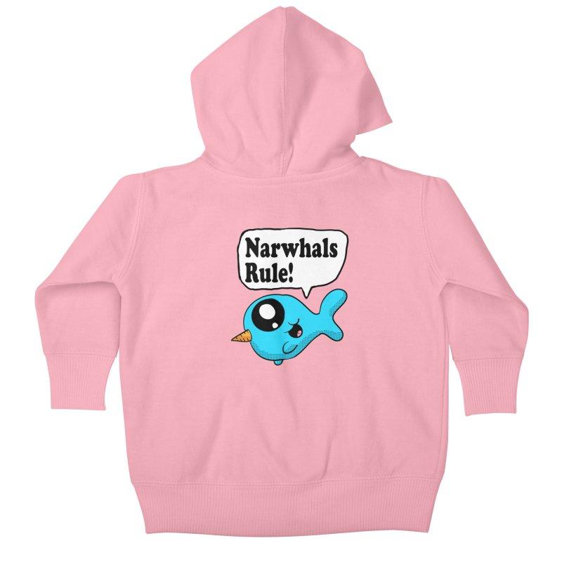 Narwhals Rule Kids Baby Zip-Up Hoody by ericallen's Artist Shop