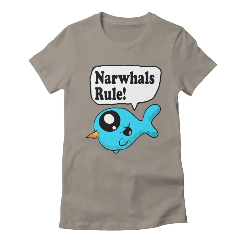 Narwhals Rule Women's Fitted T-Shirt by ericallen's Artist Shop