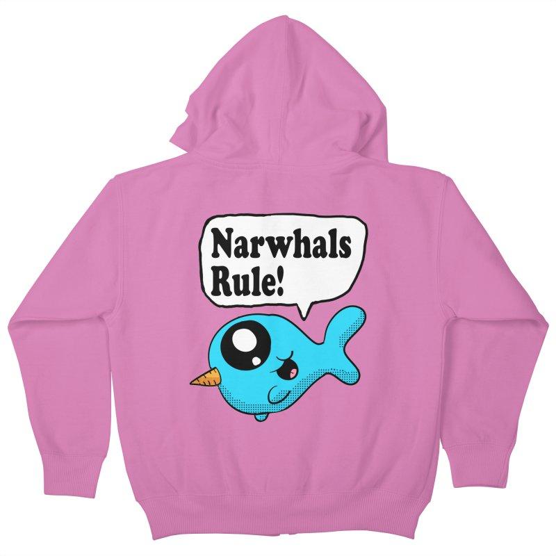 Narwhals Rule Kids Zip-Up Hoody by ericallen's Artist Shop