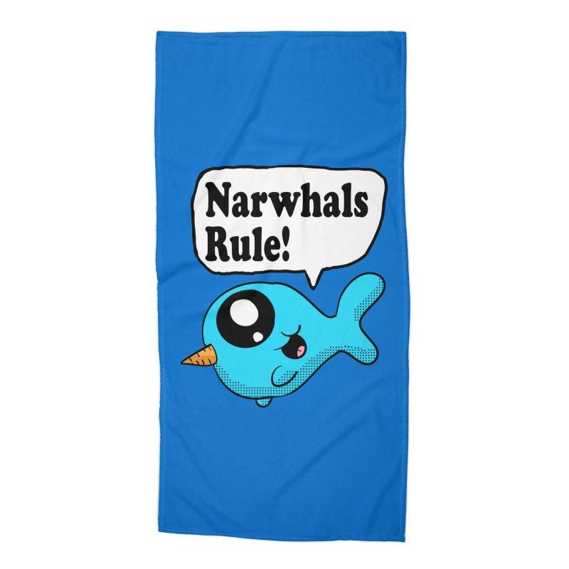 Narwhals Rule Accessories Beach Towel by ericallen's Artist Shop
