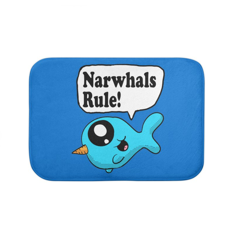 Narwhals Rule Home Bath Mat by ericallen's Artist Shop