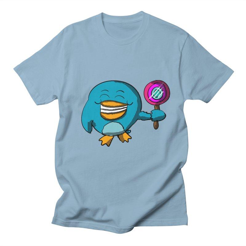 Lollipop Penguin in Men's T-shirt Light Blue by ericallen's Artist Shop
