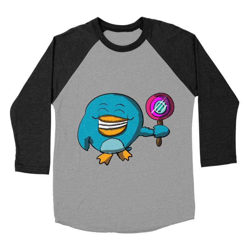 Lollipop Penguin Men's Baseball Triblend T-Shirt by ericallen's Artist Shop