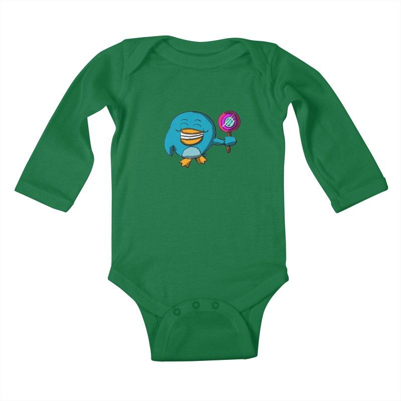 Lollipop Penguin Kids Baby Longsleeve Bodysuit by ericallen's Artist Shop