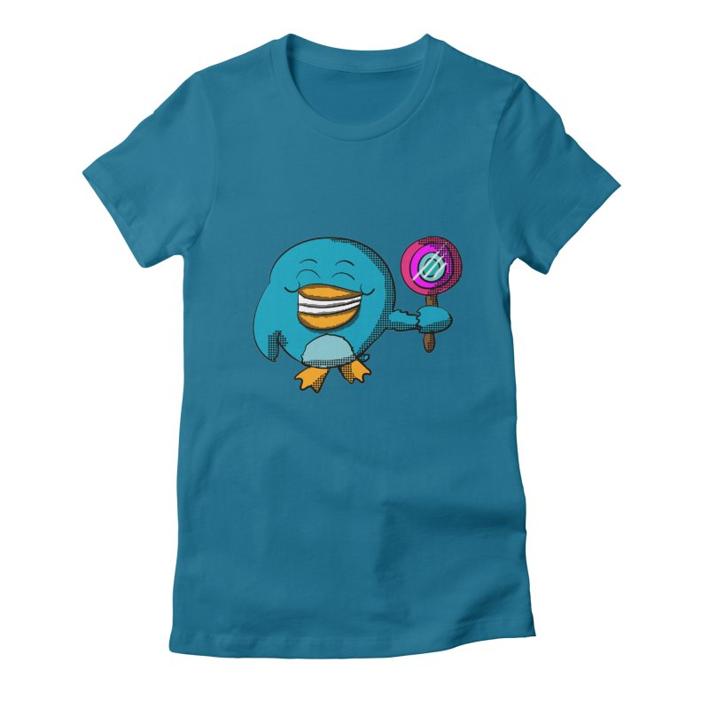 Lollipop Penguin Women's Fitted T-Shirt by ericallen's Artist Shop