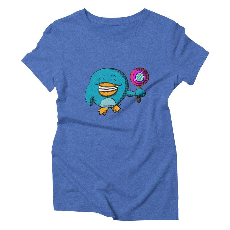Lollipop Penguin Women's Triblend T-shirt by ericallen's Artist Shop