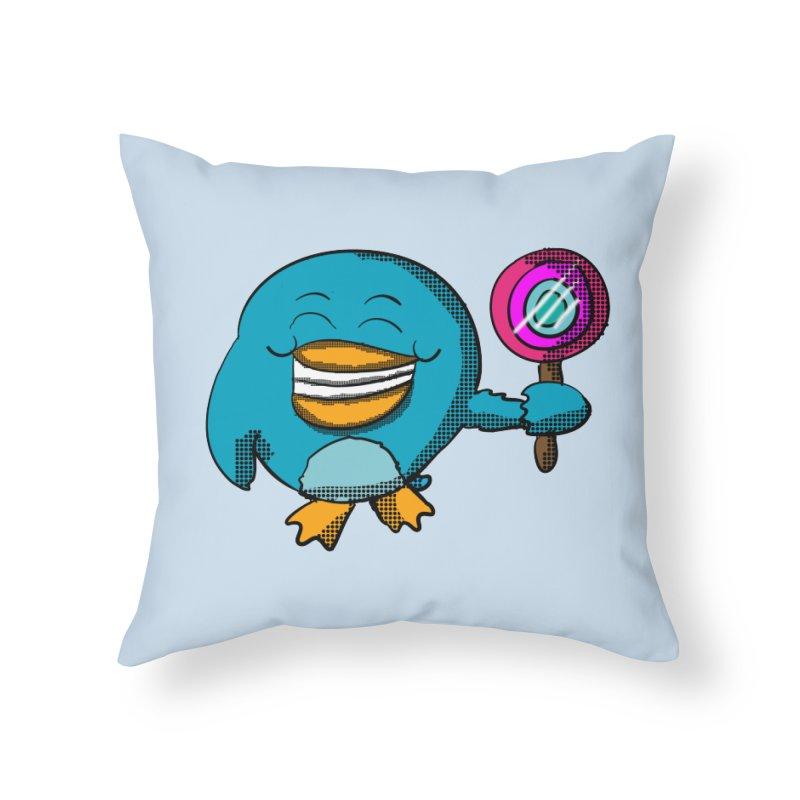 Lollipop Penguin Home Throw Pillow by ericallen's Artist Shop