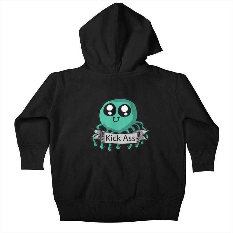 Kick Ass Octopus Kids Baby Zip-Up Hoody by ericallen's Artist Shop