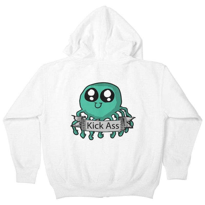 Kick Ass Octopus Kids Zip-Up Hoody by ericallen's Artist Shop