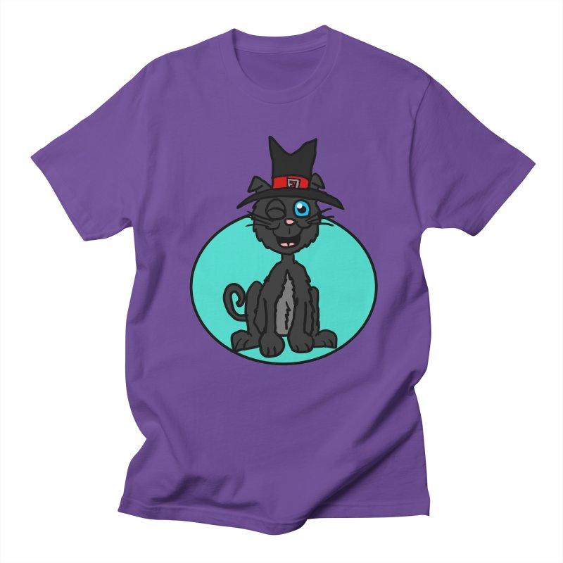 Black Cat Witch in Men's T-shirt Purple by ericallen's Artist Shop